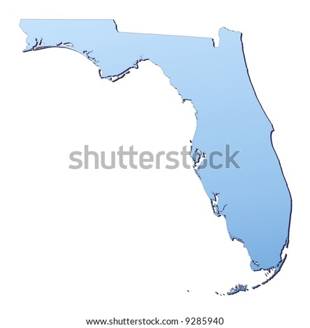 Florida(USA) map filled with light blue gradient. High resolution. Mercator projection.