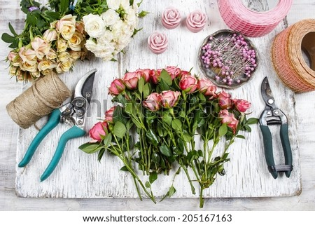 Florist workplace: flowers and accessories