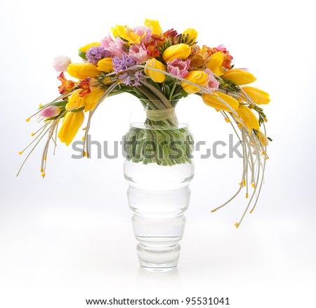 Floristics - Colorful Vernal Flowers Bouquet Arrangement in Vase - Greeting Card
