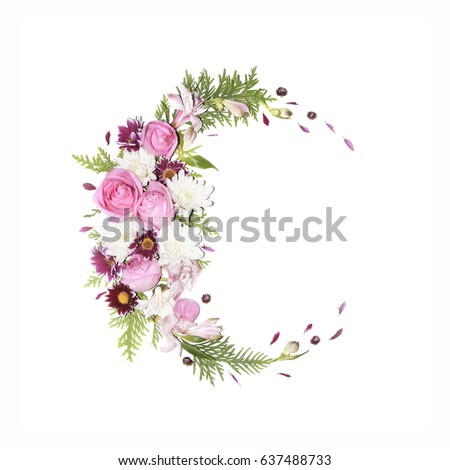 Flortal frame on a white background (chrysanthemums flowers, roses, thuja twigs, alstroemeria, daisies)