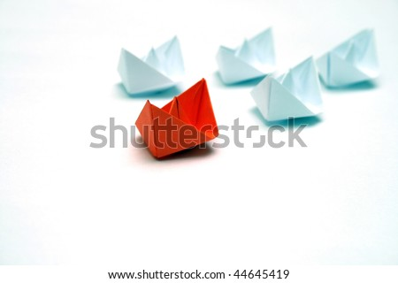 Flotilla of the paper ships led by the red ship.