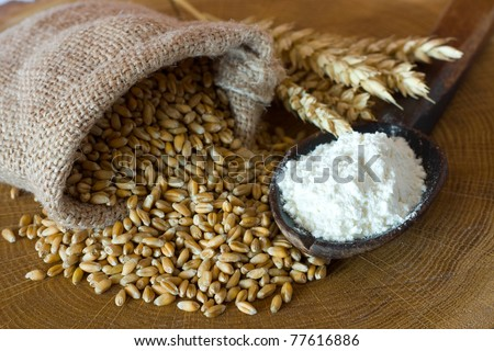 Flour and wheat grain on wooden background
