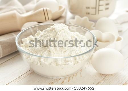 Flour, eggs and sugar