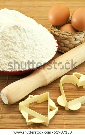 Flour, eggs, cutters for baking