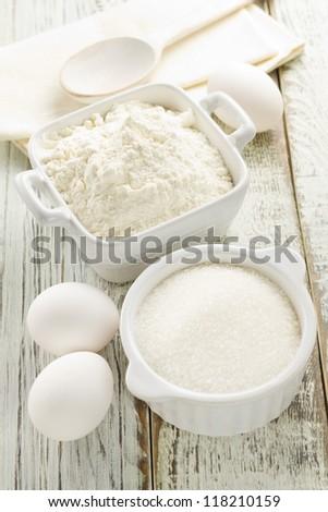 Flour, eggs, sugar