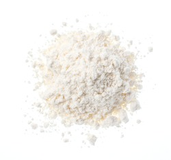 Flour placed on a white background. View from above.
