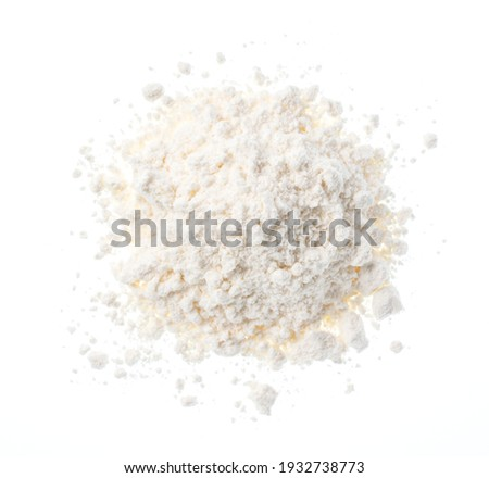 Flour placed on a white background. View from above. Foto d'archivio ©