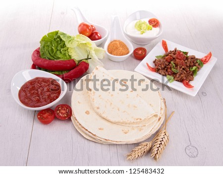 flour tortilla and ingredient