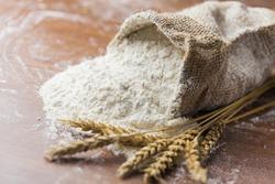 Flour, wheat, closeup.