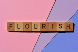 Flourish, word in wooden alphabet letters isolated on  colourful background