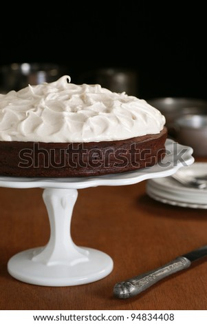 Flourless Chocolate Cake with Whipped Meringue Topping on a Cake Stand