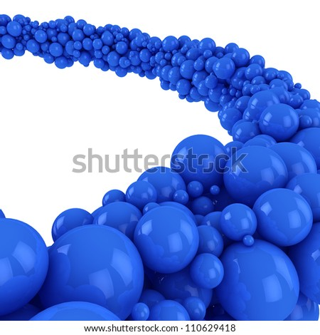 Flow of many blue spheres on the white background