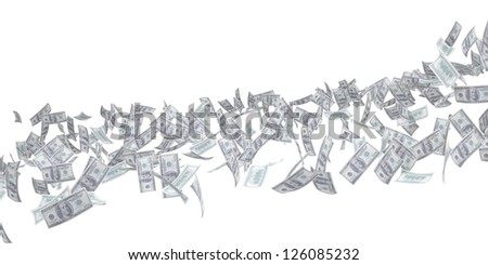 Flow of money. Dollar. Isolated 3d rendering