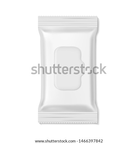 Flow pack. Wet wipes packs hygiene medicine pharmacy beauty empty mockup, snack biscuit candy realistic wrap. White clean box template isolated