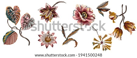 Flower abstract colorful vintage ethnic set isolated elements, suitable for texture. Floral passion flowers, lily, peony, tulip and leaves. Passiflora with branches and plants folkloric elements.