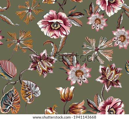 Flower abstract  ethnic vintage colorful pattern seamless texture fabric. Peony, wild flowers, lily, tulip folkloric damask motif batik, with leaves, branches, plants on militar color background. Foto stock ©