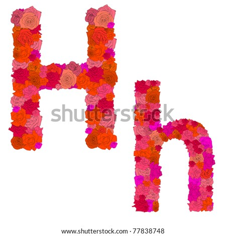 Flower alphabet of red roses, characters H-h - stock photo