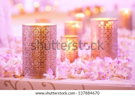 Flower And Candle Decoration For A Wedding