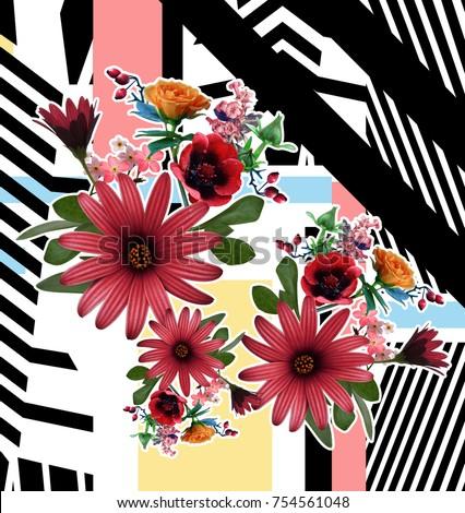 flower and geometric pattern #754561048