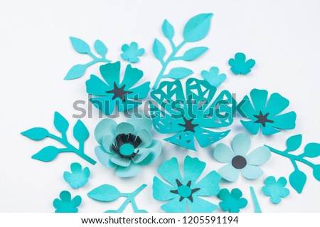 Free photos origami leaf paper on white background origami paper flower and leaf of blue color made of paper handwork favorite hobby white mightylinksfo