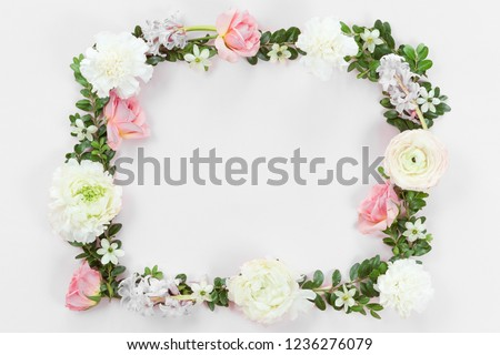 Flower and leaves frame wreath pattern background, flat lay, top view #1236276079