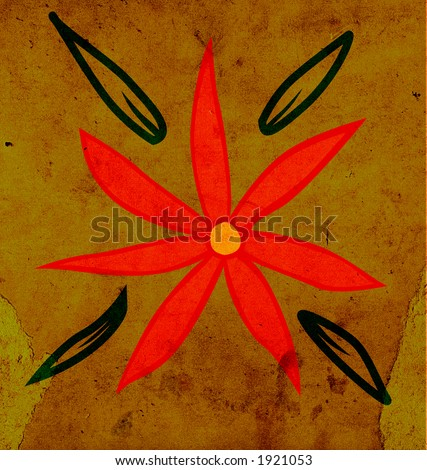 flower and leaves on old scraped paper. visit my gallery and see all the series!