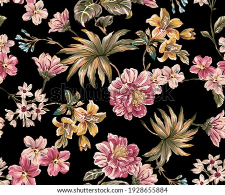 Flower and leaves tropical exotic seamless pattern colorful fabric texture print repeated. Exotic lily, peony floral elements, palm leaves tropic green and branches on black background.