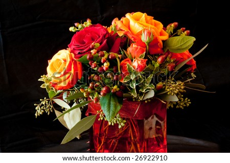 Red Roses with Orange Tips