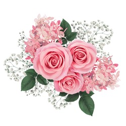 Flower arrangement with pink roses and hydrangea isolated on white.