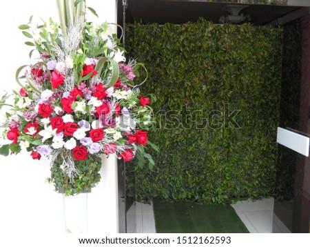 Flower arrangements on the pedestal. #1512162593