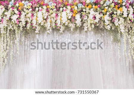 flower backdrop. wedding backdrop with flower and wedding decoration. #731550367