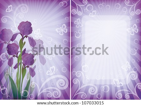 Flower background for greetings card with iris, butterflies, rays, frame and figures