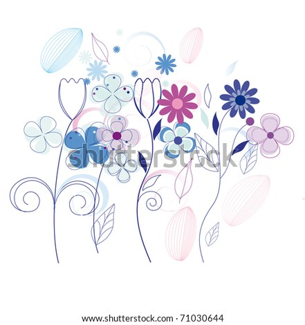 Flower background isolated on white (raster version). Vector version is also available.