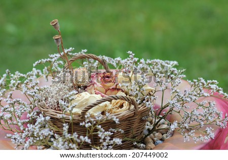 flower basket with dried blossoms, decoration vintage style