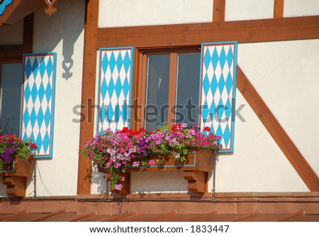 Flower baskets on window