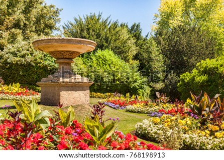 Flower beds filled with annuals in , England, UK #768198913