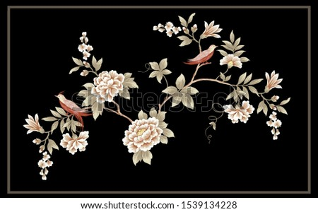 Flower, bird and plant design, the artistic expression of Oriental culture