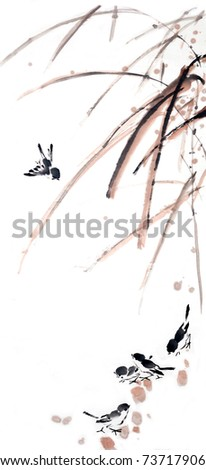 flower-bird painting .Traditional Chinese Painting.