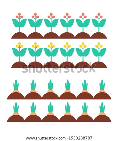 Flower blooming plants in ground with green leaves and petals and fresh new carrot. Farming and agriculture cultivation icons set isolated on raster