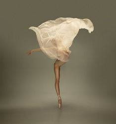 Flower blossom. Graceful classic ballerina dancing on grey studio background. Tender beige cloth. The grace, artist, movement, action and motion concept. Looks weightless, flexible. Fashion, style.