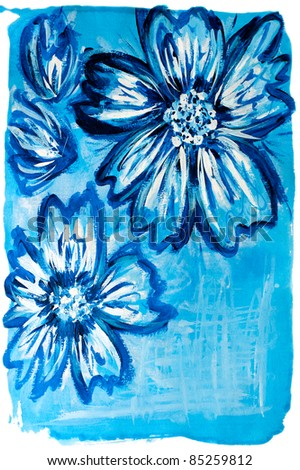 Flower. Blue watercolor painted floral background