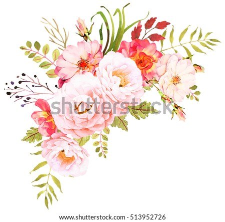 FLower bohemian bouquet. Decorative composition for wedding invitation and save the date card. Watercolor illustration