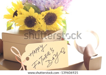 flower bouquet and gift box for father\'s day image