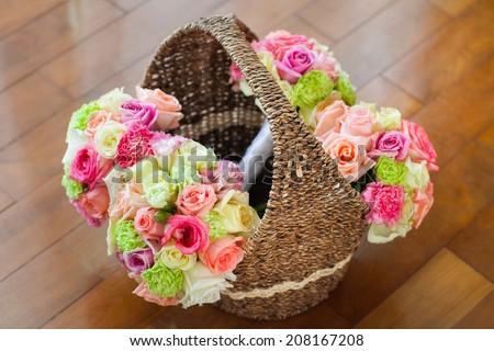Flower bouquet on basket