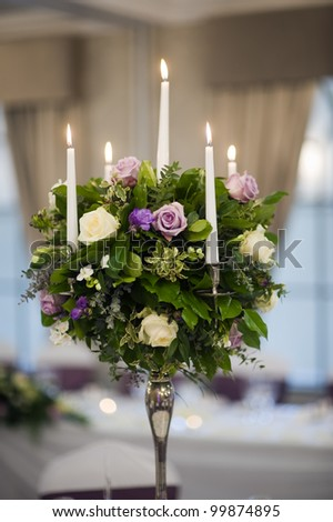 flower bouquet table center piece - stock photo