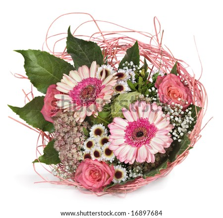 Flower bouquet with roses and gerbera
