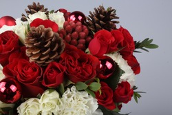 Flower bunch with Christmas decorations