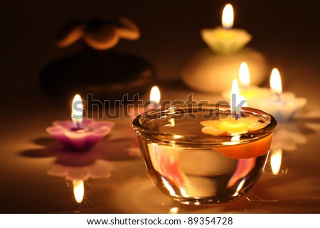 flower candles isolated in white background