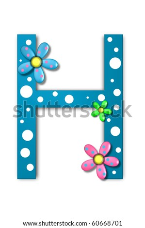 Flower Child Alphabet Set H is polka dotted and decorated with pink and blue flowers.
