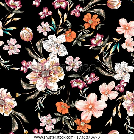 Flower colorful illustration pattern seamless fabric texture print. Floral peony, daisy, lily, tulip, sunflowers, wild flowers elements with leaves, branches and plants botanic .